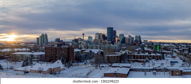 Panoramic of Calgary's skyline on a cold winter evening. Taken from Tom Campbell's Hill.