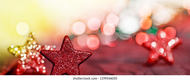 Panoramic Christmas background with color Christmas stars.