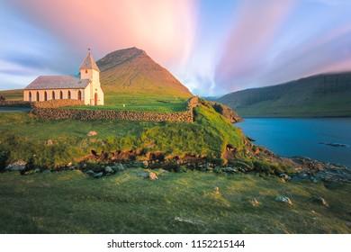 Panoramic of church of Vidareidi, Vidoy island, Faroe Islands, Denmark