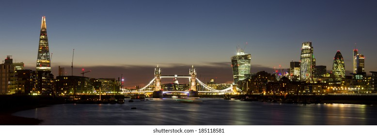 Panoramic of the City of London with Tower Bridge, The Shard, Walkie Talkie, Gherkin and other skyscrapers