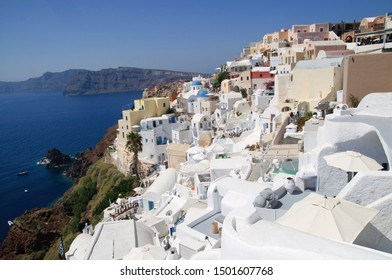 Panoramic of city Santorini, most famous island of Grece