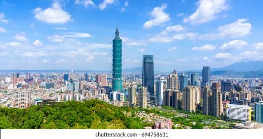 Panoramic of city Taipei with capital building Taipei 101, Taiwan