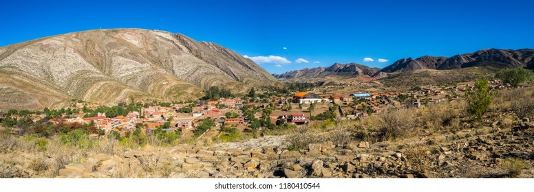 Panoramic of the city of Toro Toro in Bolivia. Detail of the geological formations. The Andes range