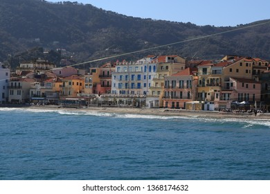 Panoramic city view Alassio Liguria Italy march 2019