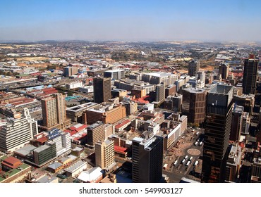 Panoramic city view. Central business district. Johannesburg, South Africa. Artistic retouching.