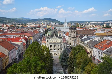 Panoramic city view of Kosice, Slovakia, with view of Hlavne Namestie (Main street and square), theatre and fountains in park, sunny day, high angle
