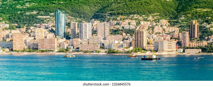 Panoramic city view of Monte Carlo, Monaco.