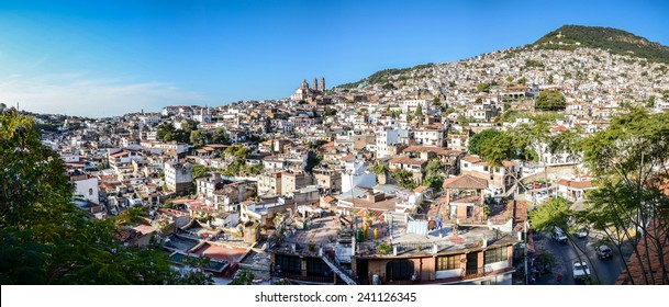 Panoramic city view of Silver town Taxco