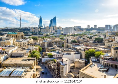 Panoramic cityscape of Baku, capital city of Azerbaijan. Bright summer view on a clean blue sky summer day.