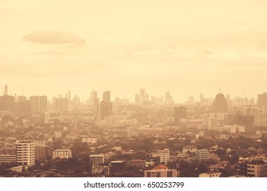 Panoramic cityscape of Bangkok city in morning, vintage tone.