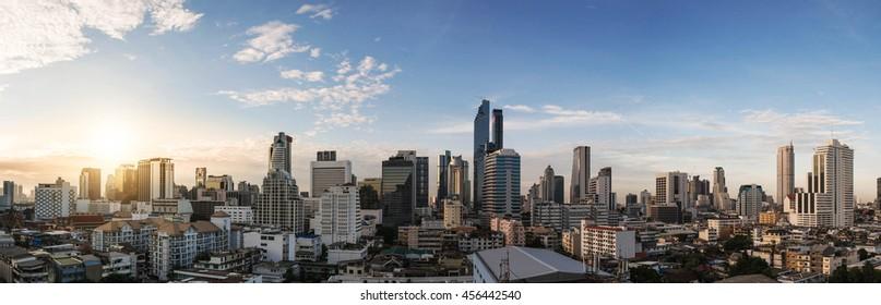 Panoramic cityscape of Bangkok city in sunrise.Landscape sunrise business zone in Bangkok the capital city of Thailand