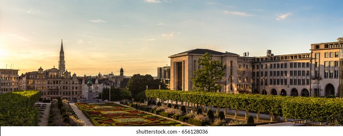 Panoramic Cityscape of Brussels in a beautiful summer day, Belgium