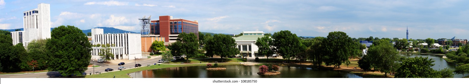 Panoramic cityscape of downtown Huntsville, Alabama from Big Spring Park