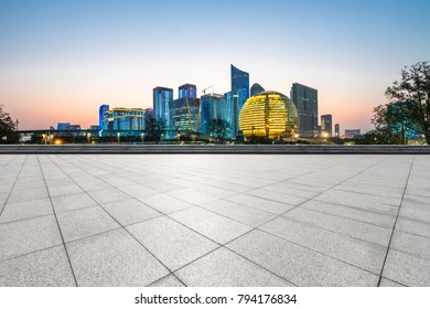 Panoramic cityscape with empty road in hangzhou china