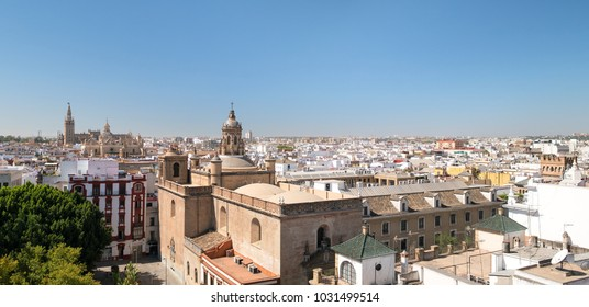 Panoramic cityscape of the historical centre of Seville from the top of the Space Metropol Parasol (Setas de Sevilla), Andalusia, Spain.
