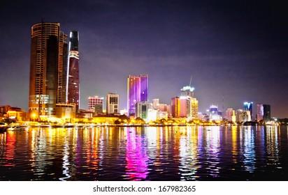Panoramic cityscape of Ho Chi Minh city or Saigon at night, Vietnam.