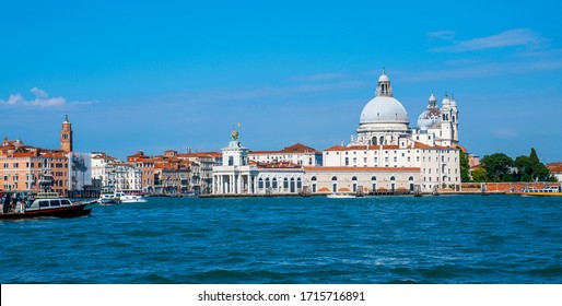 Panoramic cityscape image of Venice, Italy. Architecture and landmarks of Venice. Retro style filter effect.