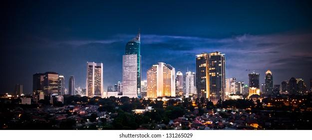 Panoramic cityscape of Indonesia capital city Jakarta at night