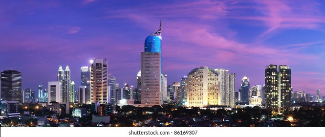 Panoramic cityscape of Indonesia capital city Jakarta at sunset