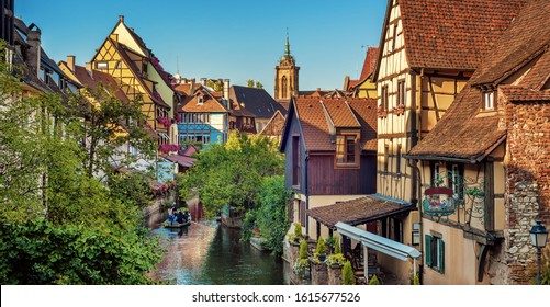 Panoramic cityscape of La Petite Venise in Colmar medieval Old town in Alsace, France