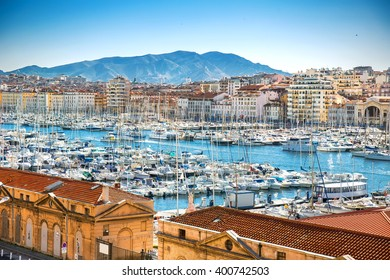 Panoramic cityscape of Marseille with Vieux Port, Marseille, Provence, France