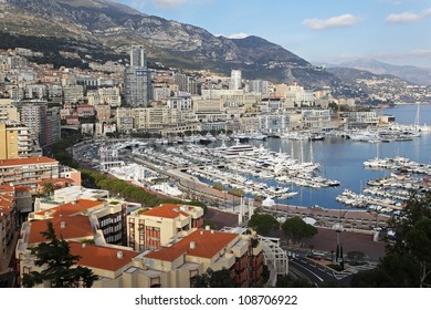 Panoramic cityscape of Monte Carlo at sunny afternoon