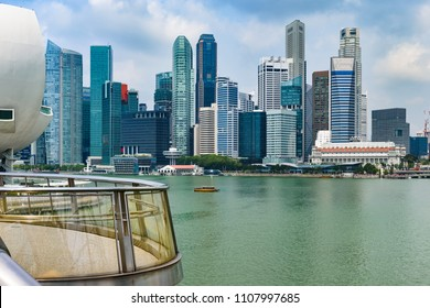 Panoramic cityscape of Singapore Marina Bay and Merlion Park with skyscrapers of buisness centre in background