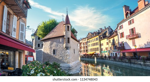 Panoramic cityscape with Thiou canal and  Palais de l'Isle in old town of Annecy. France