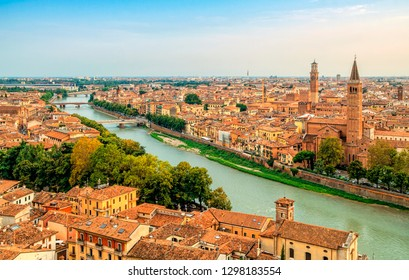 Panoramic cityscape of Verona, Veneto region, Italy. Sunset aerial view of Verona. Castel san Pietro.