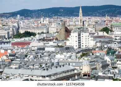 The panoramic cityscape of Vienna, the capital of Austria, from the highest Nothern tower of St Stephen's cathedral