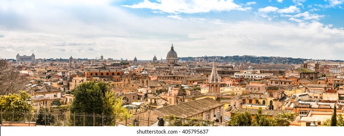 Panoramic cityscape view across Rome from the top of the Spanish Steps