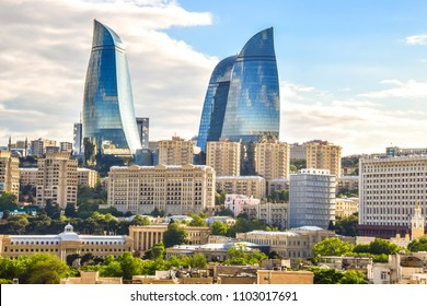 Panoramic cityscape view of Baku, capital city of Azerbaijan on a clean sunny day