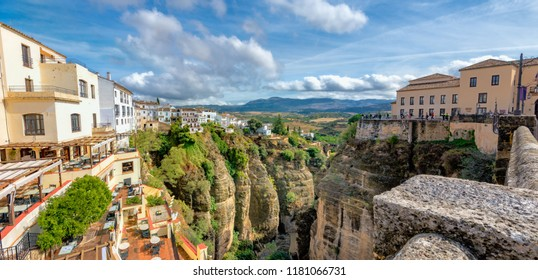 Panoramic cityscape with view of Tajo Gorge in Ronda. Andalusia, Spain