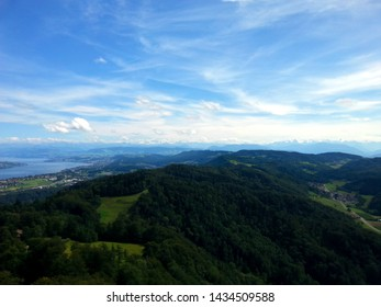Panoramic cityscape view of Zurich from the top of the Uetliberg mountain