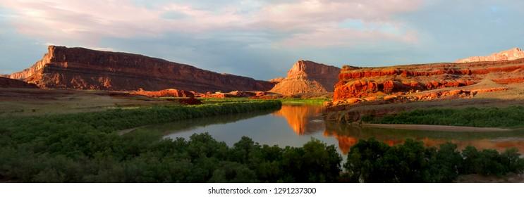 Panoramic of Cliffs along the old Colorado River in Utah close to Moab, Utah.
