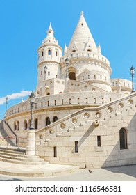A panoramic close-up view of the fisherman bastion, that is one of the most popular attraction in Budapest, Hungary