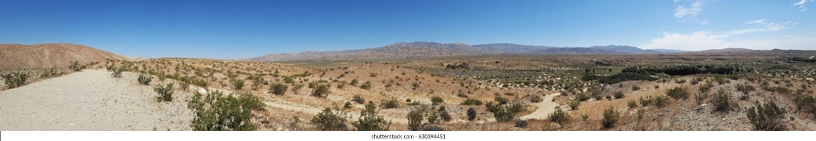 Panoramic of Coachella Valley desert near Palm Springs, California