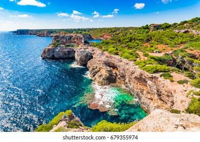 Panoramic coastline view of Majorca island, rocky coast of Santanyi Cala Moro and Cala S'Almunia, Spain Mediterranean Sea, Balearic Islands.