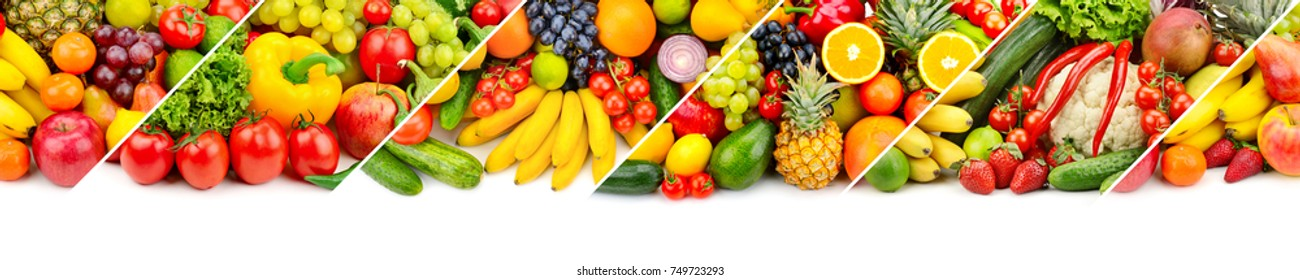 Panoramic collage of fresh fruits and vegetables isolated on white background. Free space for text.