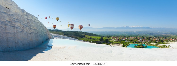 "Panoramic collage with hot air ballons flying above snowy white Pamukkale in Turkey. Pamukkale is geological phenomenon, literally ""Cotton Castle"" in Turkish, most visited attraction in Turkey."