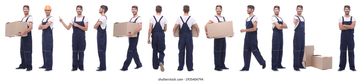 panoramic collage of male handyman isolated on white