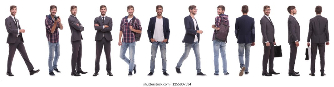 panoramic collage of a promising young man