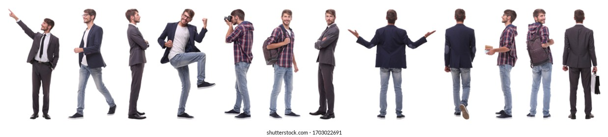 panoramic collage of self-motivated young man .isolated on white