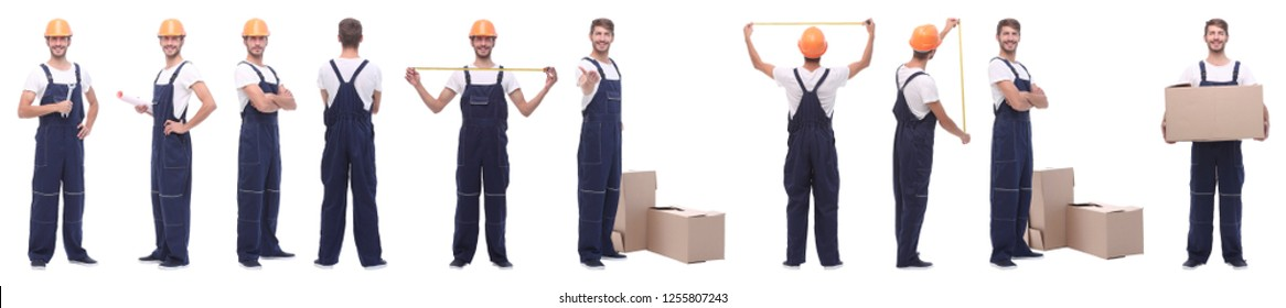 panoramic collage of skilled handyman isolated on white