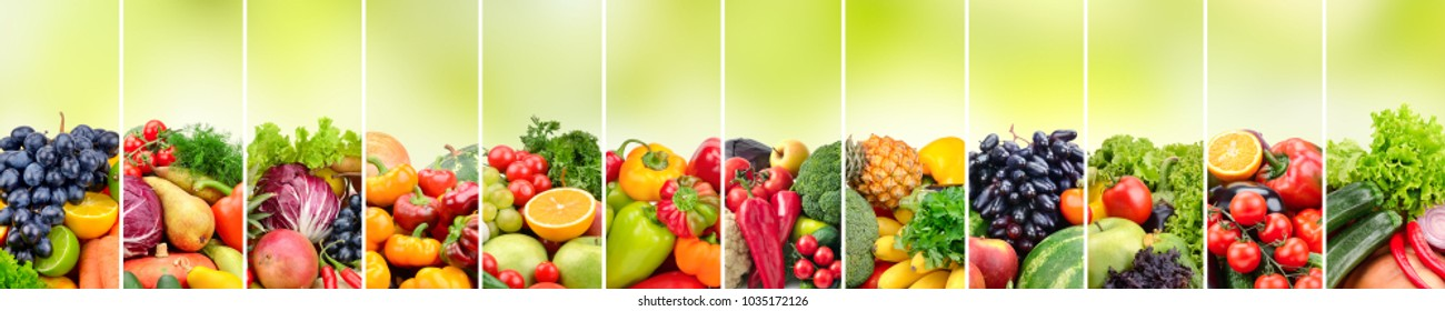 Panoramic collage vegetables and fruits on blurred green background. Copy space