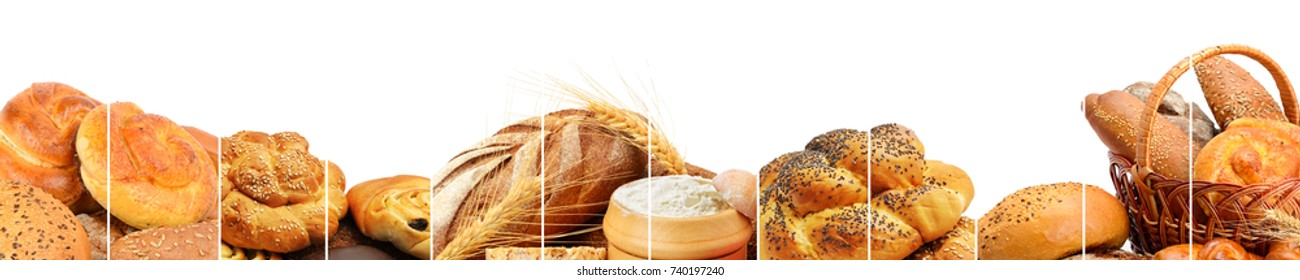 Panoramic collection of bread products. Wide photo with free space for text.