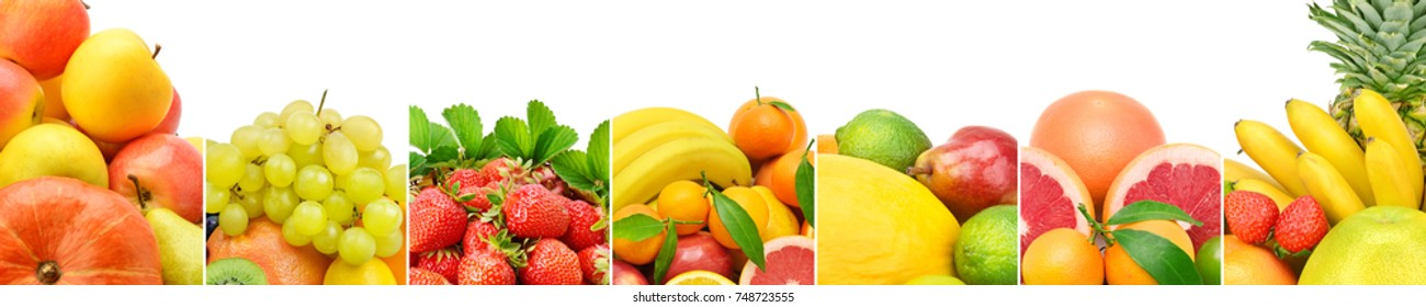 Panoramic collection fresh fruits isolated on white background. Wide photo with free space for text.