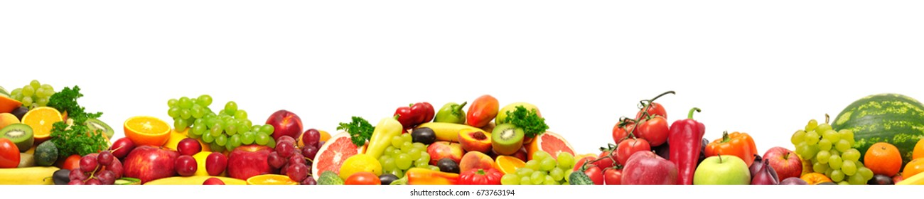 Panoramic collection fresh fruits and vegetables for skinali isolated on white background