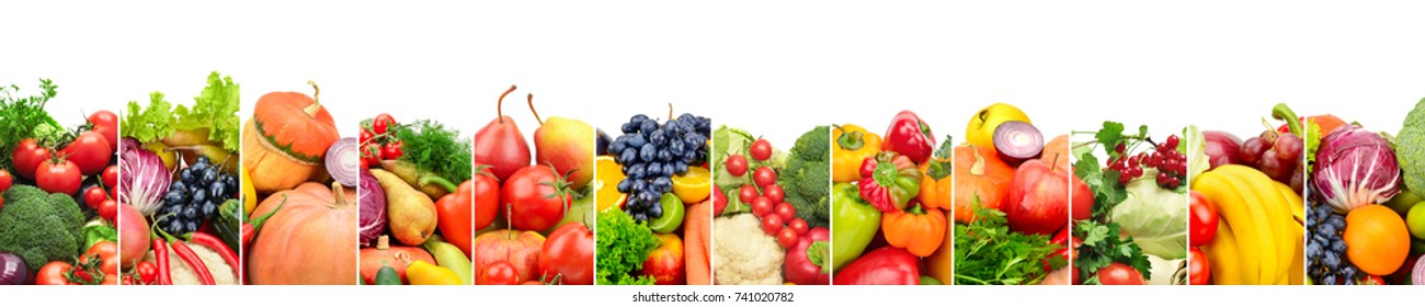 Panoramic collection fresh fruits and vegetables isolated on white. Wide photo with free space for text.