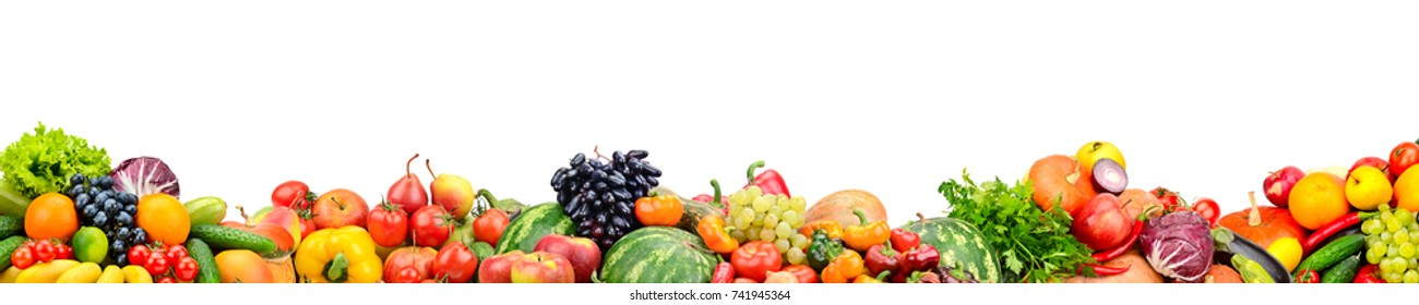 Panoramic collection fresh fruits and vegetables isolated on white background. Free space for text.